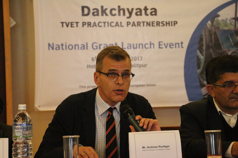 Andreas Roettger, Head of Cooperation, European Union Delegation to Nepal providing his opening remarks at Dakchayta National Grant Launch Event